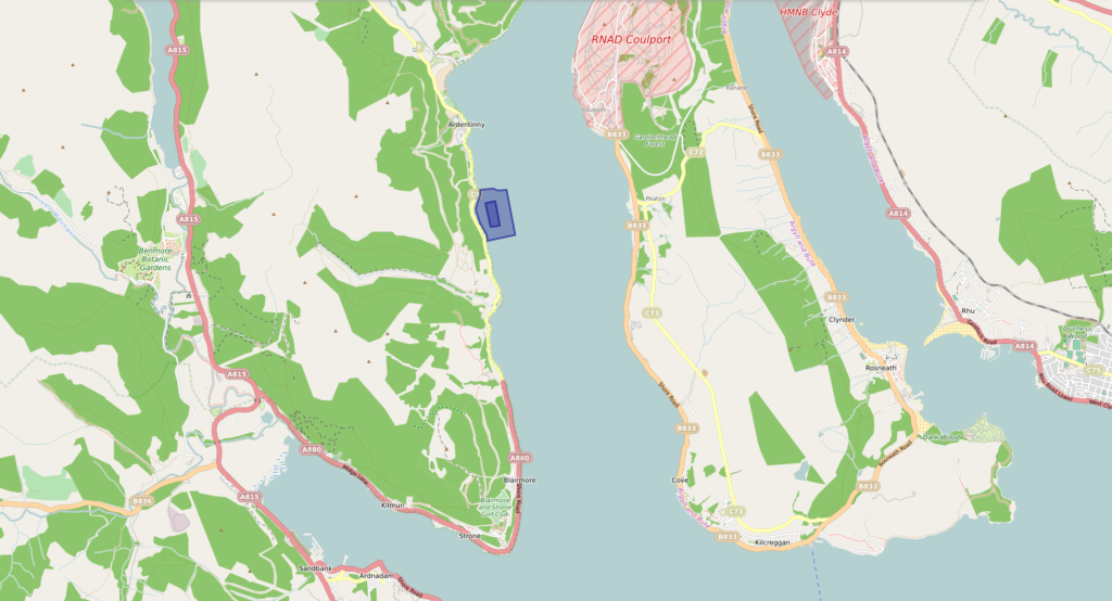 Ardentinny Proposed Site, with land features and surrounding area