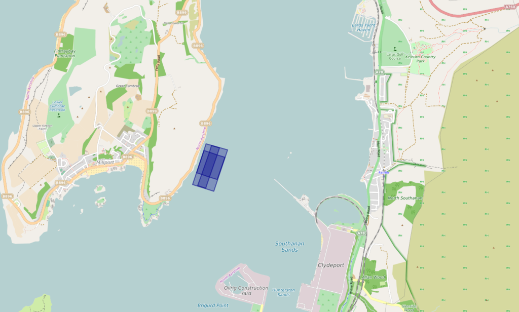 Great Cumbrae Proposed Site, with land features and view of water channel