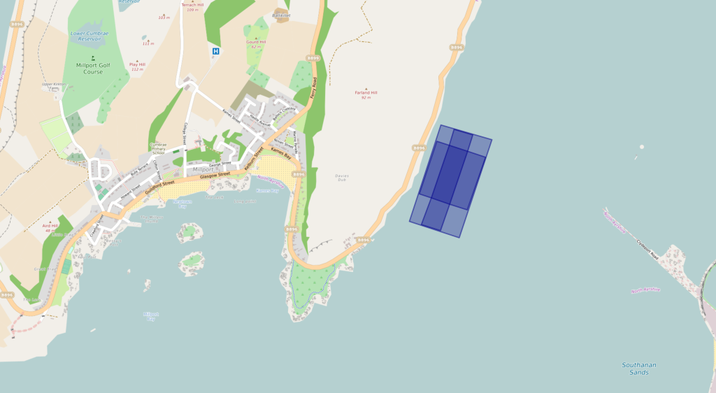 Great Cumbrae Proposed Site, with land features